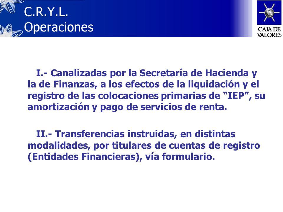 Los títulos se registran en Cuentas Globales, a nombre de las Entidades Financieras, sin identificación del Tenedor Final. Caja de Valores S.A. mantie