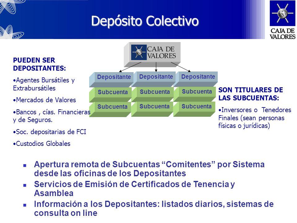 Sociedad anónima cuyos accionistas son la BCBA, el MERVAL y Bolsas y Mercados del interior, creada en 1974. CAJA DE VALORES S.A. Central Depositaria d