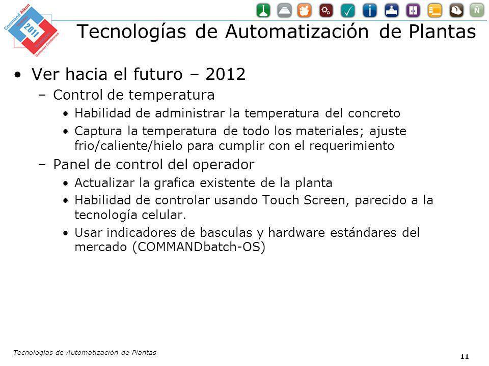 Tecnologías de Automatización de Plantas 11 Ver hacia el futuro – 2012 –Control de temperatura Habilidad de administrar la temperatura del concreto Ca