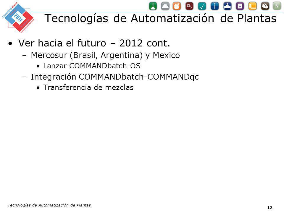 12 Ver hacia el futuro – 2012 cont. –Mercosur (Brasil, Argentina) y Mexico Lanzar COMMANDbatch-OS –Integración COMMANDbatch-COMMANDqc Transferencia de