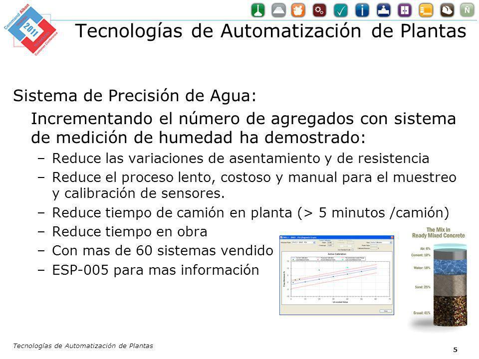 5 Sistema de Precisión de Agua: Incrementando el número de agregados con sistema de medición de humedad ha demostrado: –Reduce las variaciones de asen