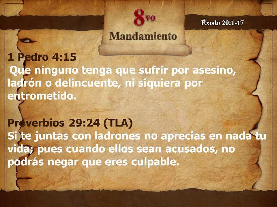 1 Pedro 4:15 Que ninguno tenga que sufrir por asesino, ladrón o delincuente, ni siquiera por entrometido. Proverbios 29:24 (TLA) Si te juntas con ladr
