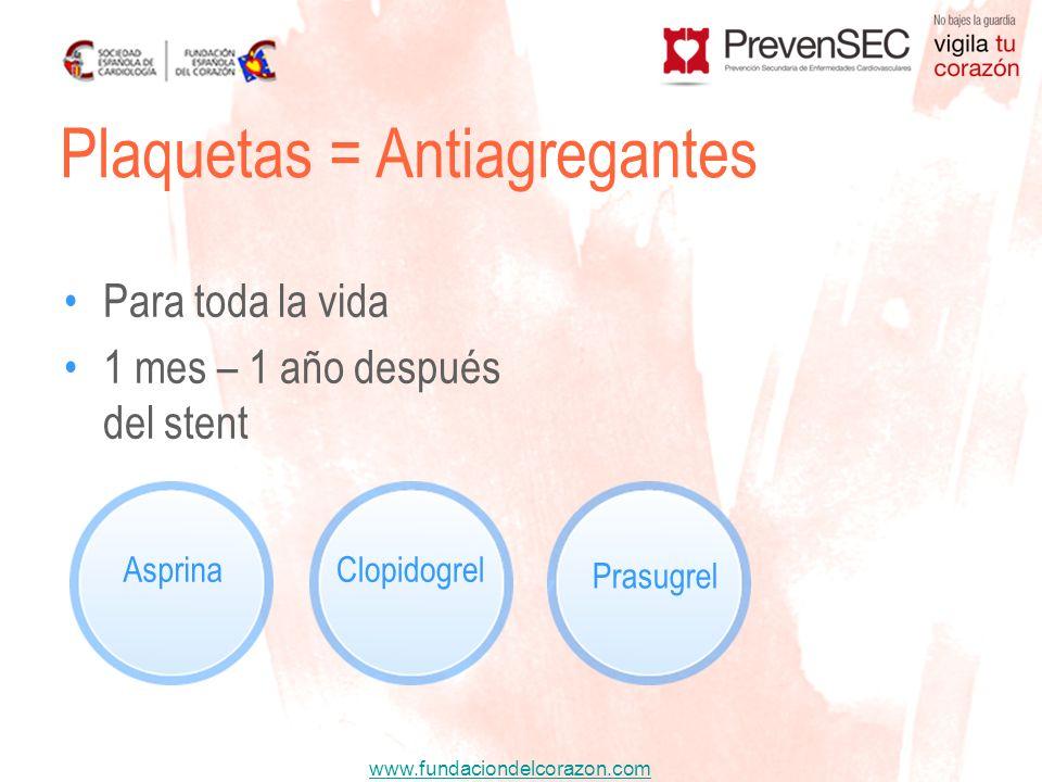 www.fundaciondelcorazon.com Para toda la vida 1 mes – 1 año después del stent Plaquetas = Antiagregantes AsprinaClopidogrel Prasugrel