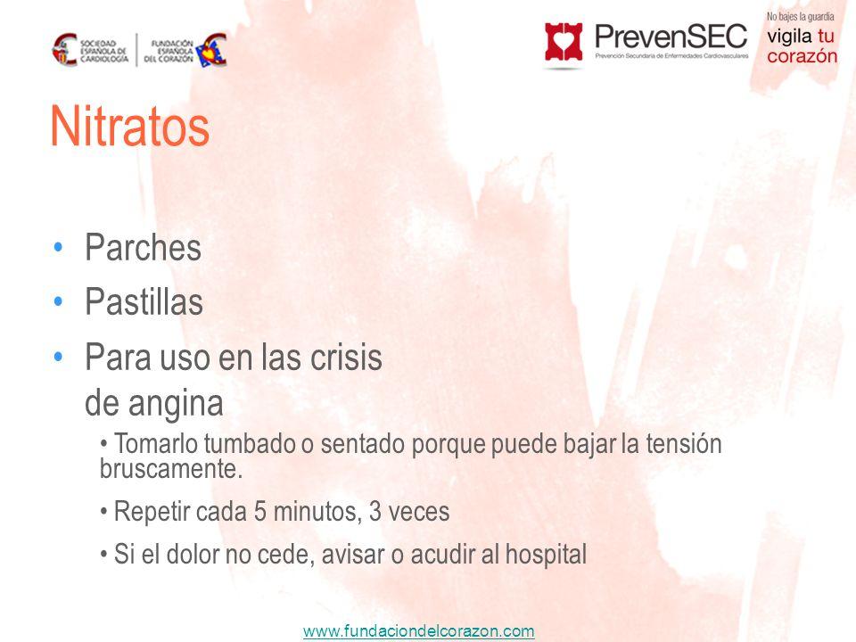 www.fundaciondelcorazon.com Parches Pastillas Para uso en las crisis de angina Nitratos Tomarlo tumbado o sentado porque puede bajar la tensión brusca