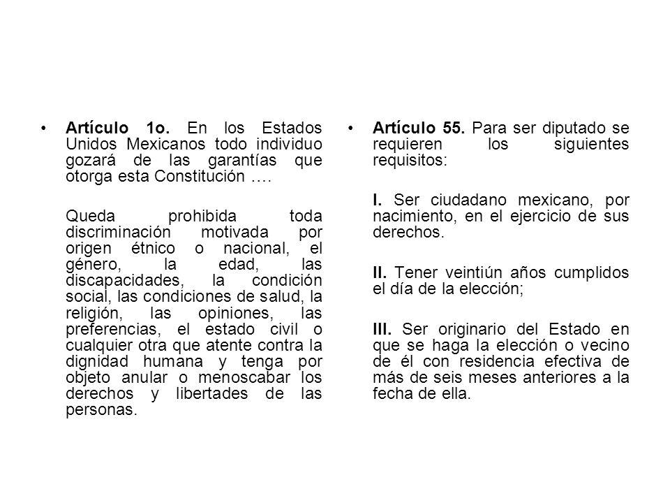 Artículo 1o. En los Estados Unidos Mexicanos todo individuo gozará de las garantías que otorga esta Constitución …. Queda prohibida toda discriminació