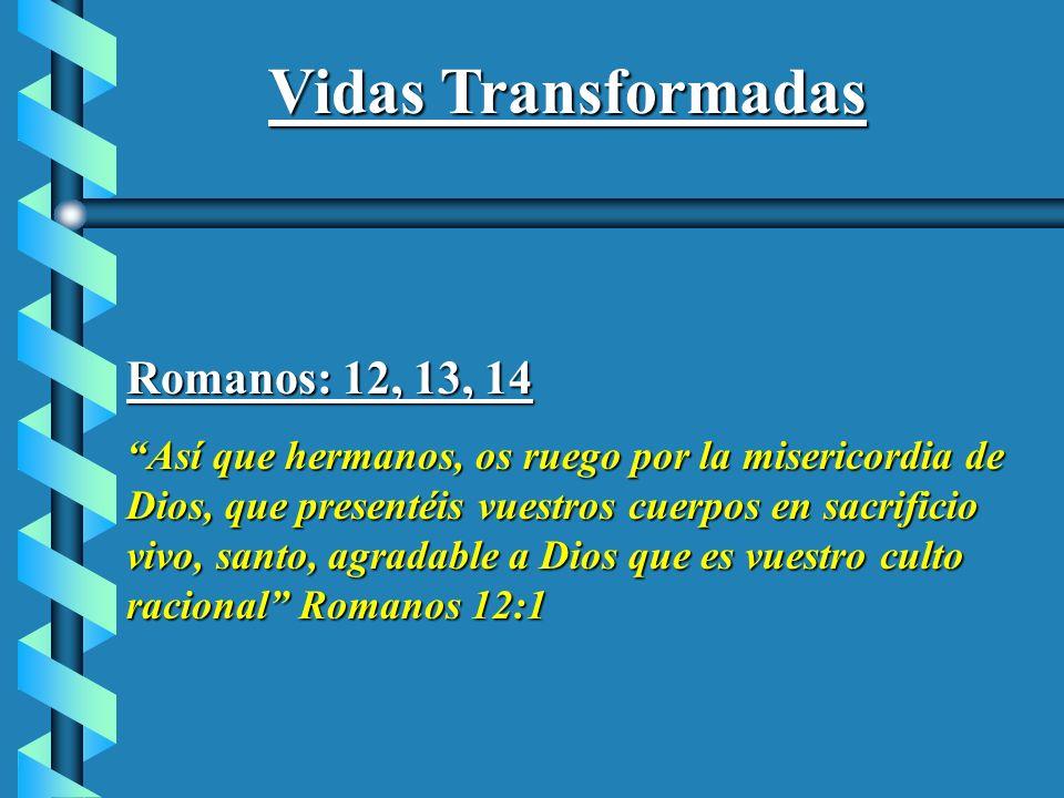 Vidas Transformadas Romanos: 12, 13, 14 Así que hermanos, os ruego por la misericordia de Dios, que presentéis vuestros cuerpos en sacrificio vivo, sa