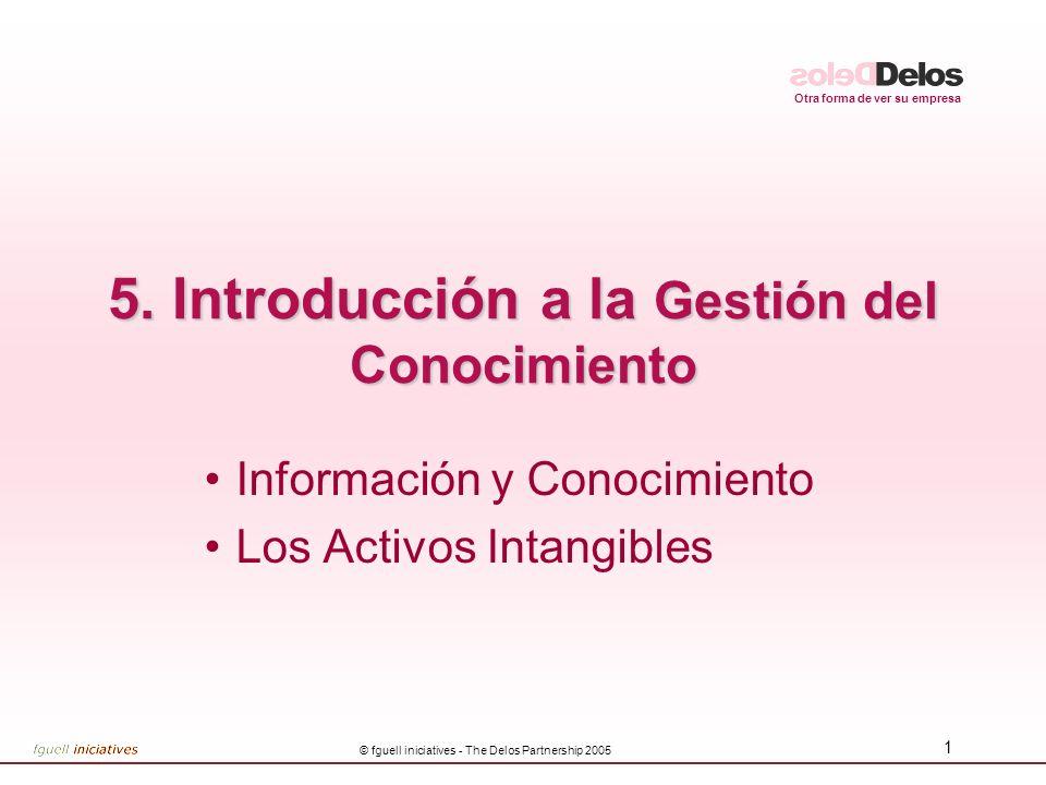Otra forma de ver su empresa © fguell iniciatives - The Delos Partnership 2005 1 5. Introducción a la Gestión del Conocimiento Información y Conocimie