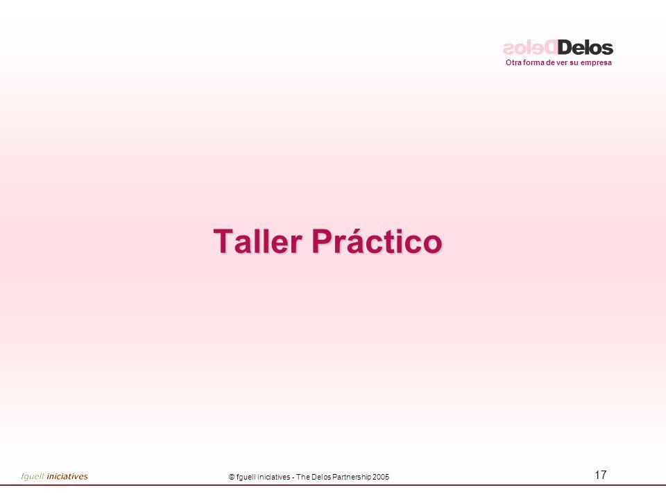 Otra forma de ver su empresa © fguell iniciatives - The Delos Partnership 2005 17 Taller Práctico