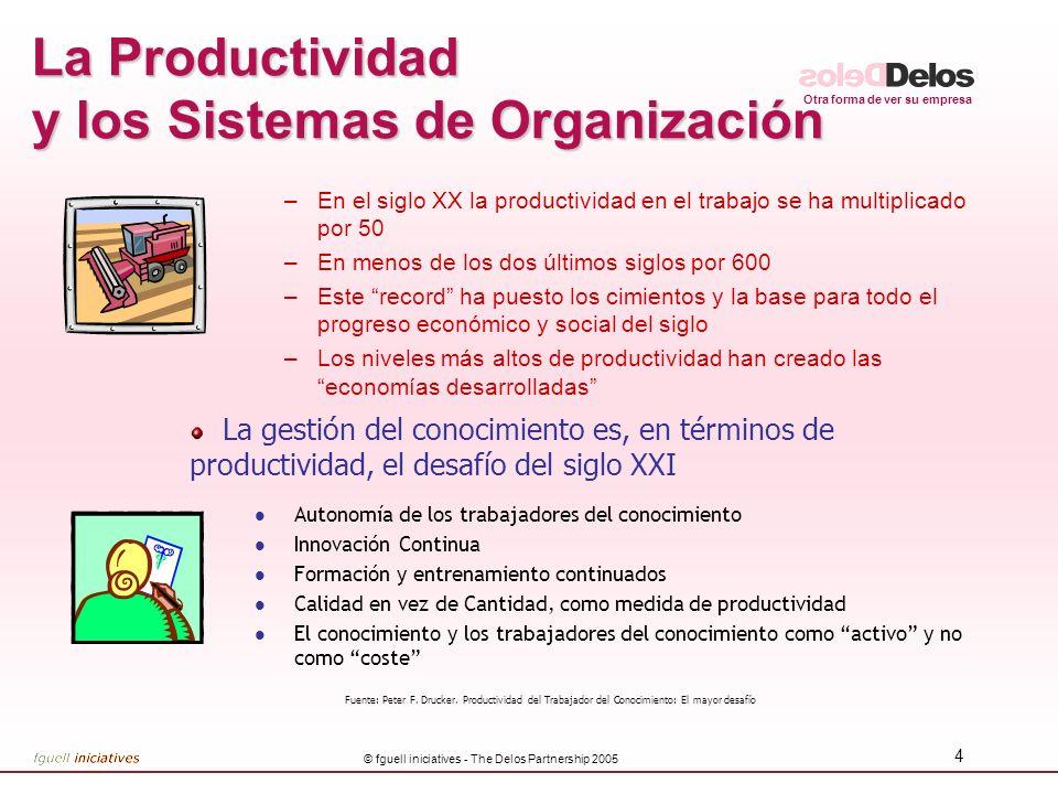 Otra forma de ver su empresa © fguell iniciatives - The Delos Partnership 2005 4 La Productividad y los Sistemas de Organización –En el siglo XX la pr