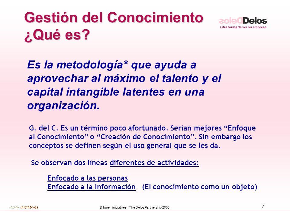 Otra forma de ver su empresa © fguell iniciatives - The Delos Partnership 2005 7 Gestión del Conocimiento ¿Qué es? Es la metodología* que ayuda a apro