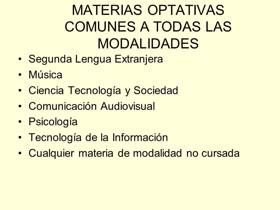 MATERIAS OPTATIVAS COMUNES A TODAS LAS MODALIDADES Segunda Lengua Extranjera Música Ciencia Tecnología y Sociedad Comunicación Audiovisual Psicología