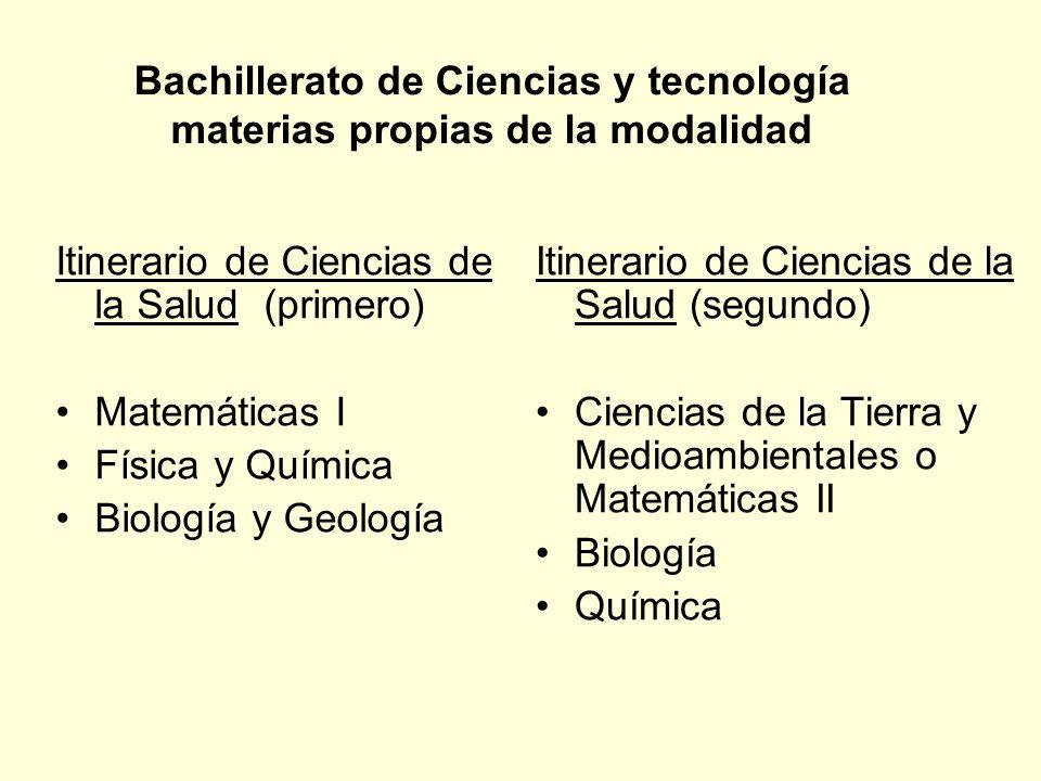 Bachillerato de Ciencias y tecnología materias propias de la modalidad Itinerario de Ciencias de la Salud (primero) Matemáticas I Física y Química Bio