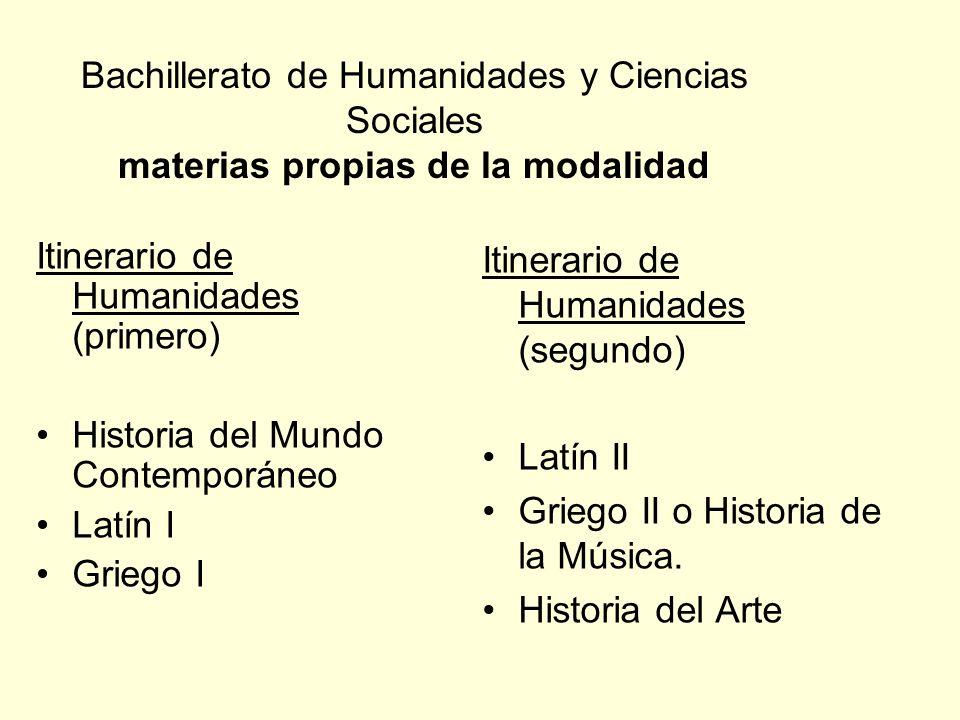 Bachillerato de Humanidades y Ciencias Sociales materias propias de la modalidad Itinerario de Humanidades (primero) Historia del Mundo Contemporáneo
