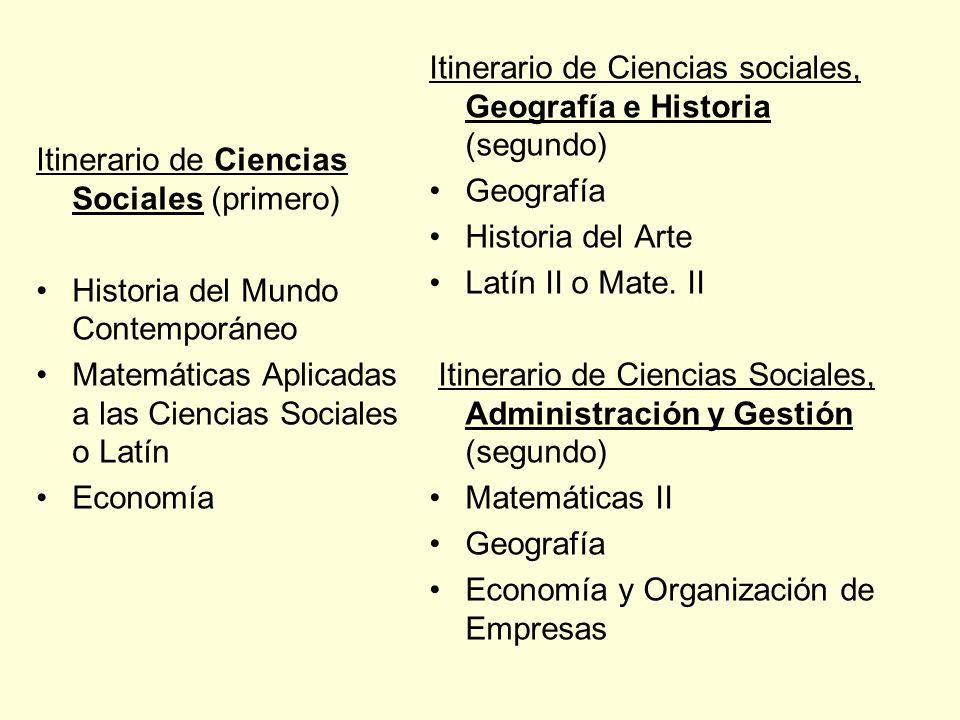 Itinerario de Ciencias Sociales (primero) Historia del Mundo Contemporáneo Matemáticas Aplicadas a las Ciencias Sociales o Latín Economía Itinerario d
