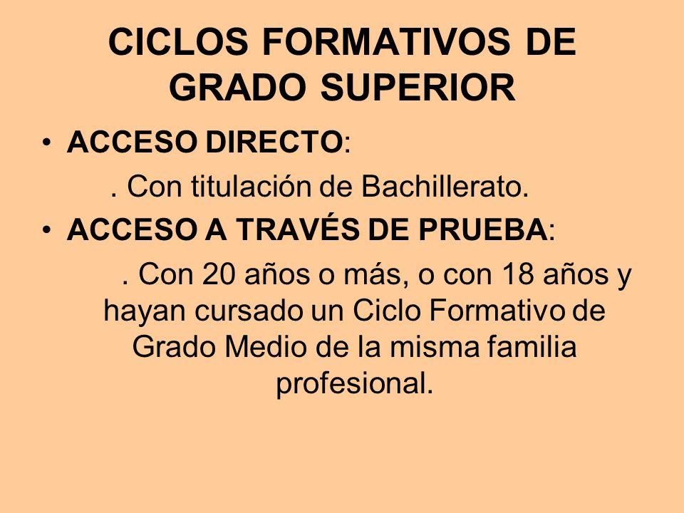 CICLOS FORMATIVOS DE GRADO SUPERIOR ACCESO DIRECTO:. Con titulación de Bachillerato. ACCESO A TRAVÉS DE PRUEBA:. Con 20 años o más, o con 18 años y ha