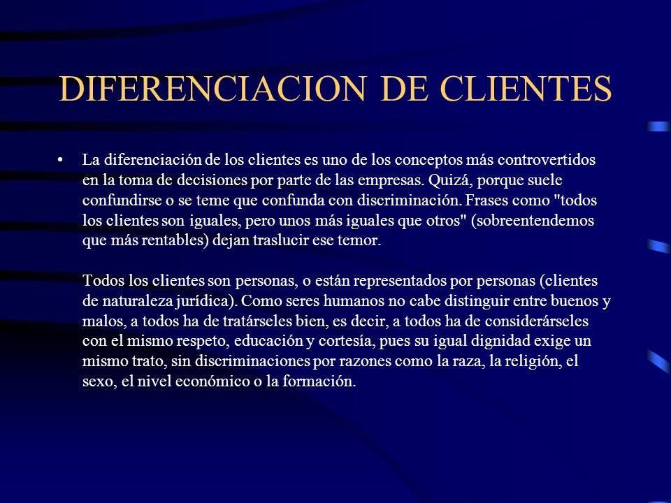 DIFERENCIACION DE CLIENTES La diferenciación de los clientes es uno de los conceptos más controvertidos en la toma de decisiones por parte de las empr