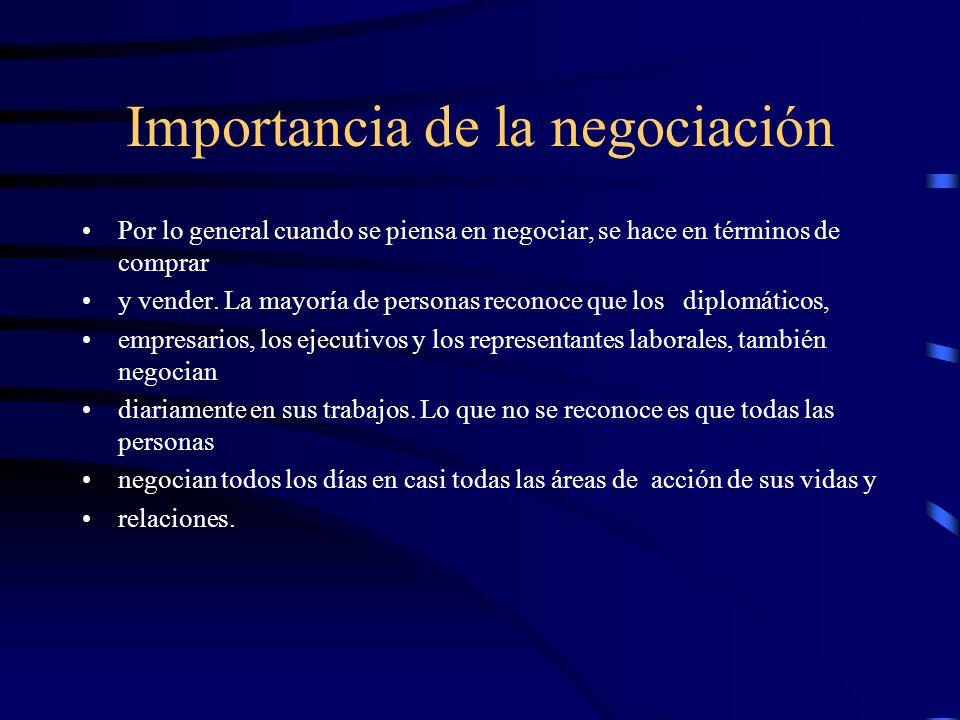 Importancia de la negociación Por lo general cuando se piensa en negociar, se hace en términos de comprar y vender. La mayoría de personas reconoce qu