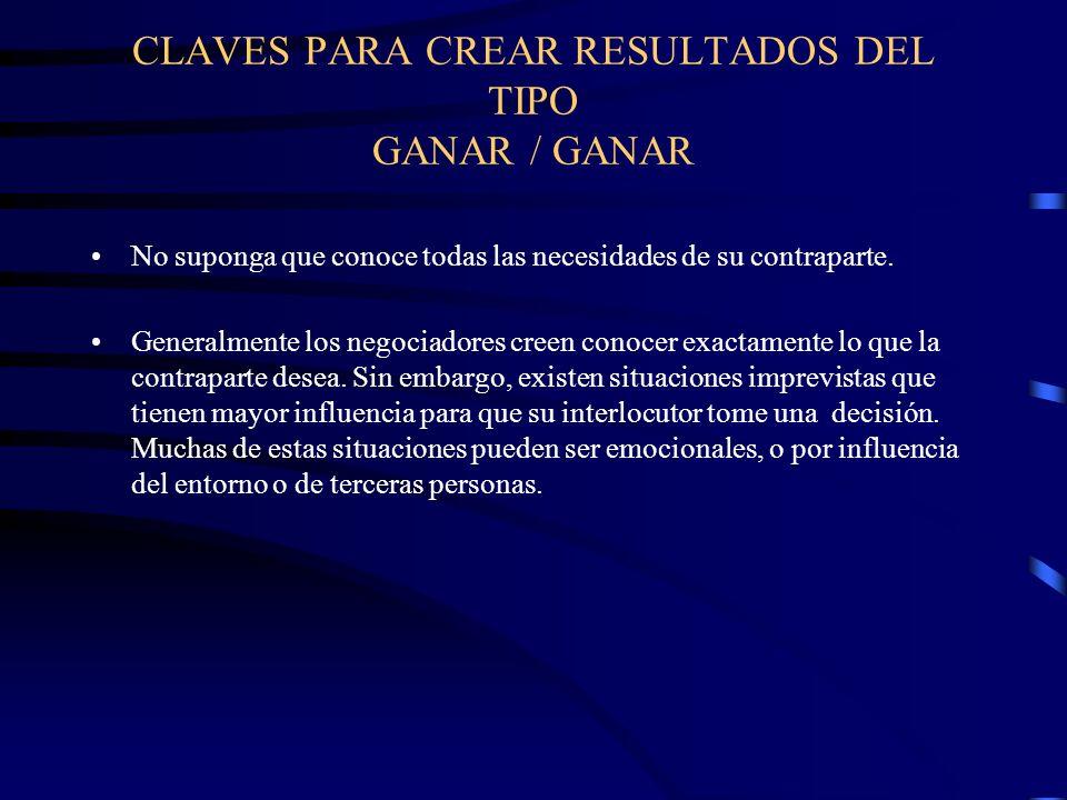 CLAVES PARA CREAR RESULTADOS DEL TIPO GANAR / GANAR No suponga que conoce todas las necesidades de su contraparte. Generalmente los negociadores creen