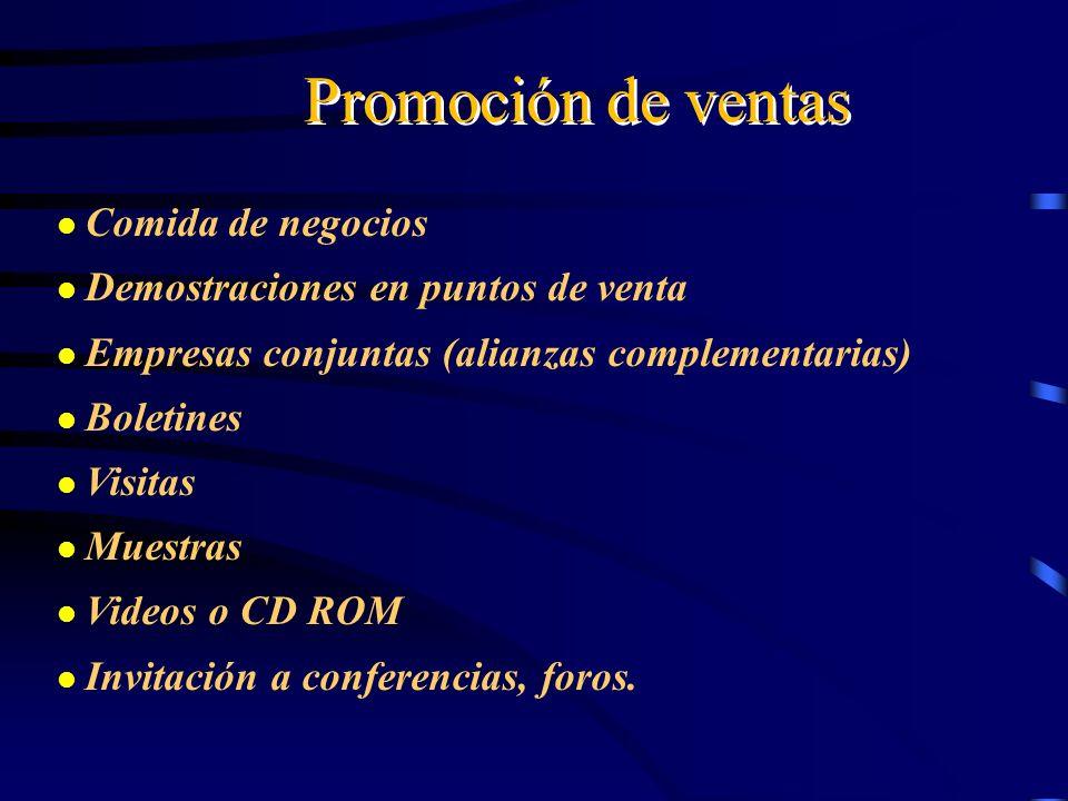 Promoción de ventas Comida de negocios Demostraciones en puntos de venta Empresas conjuntas (alianzas complementarias) Boletines Visitas Muestras Vide