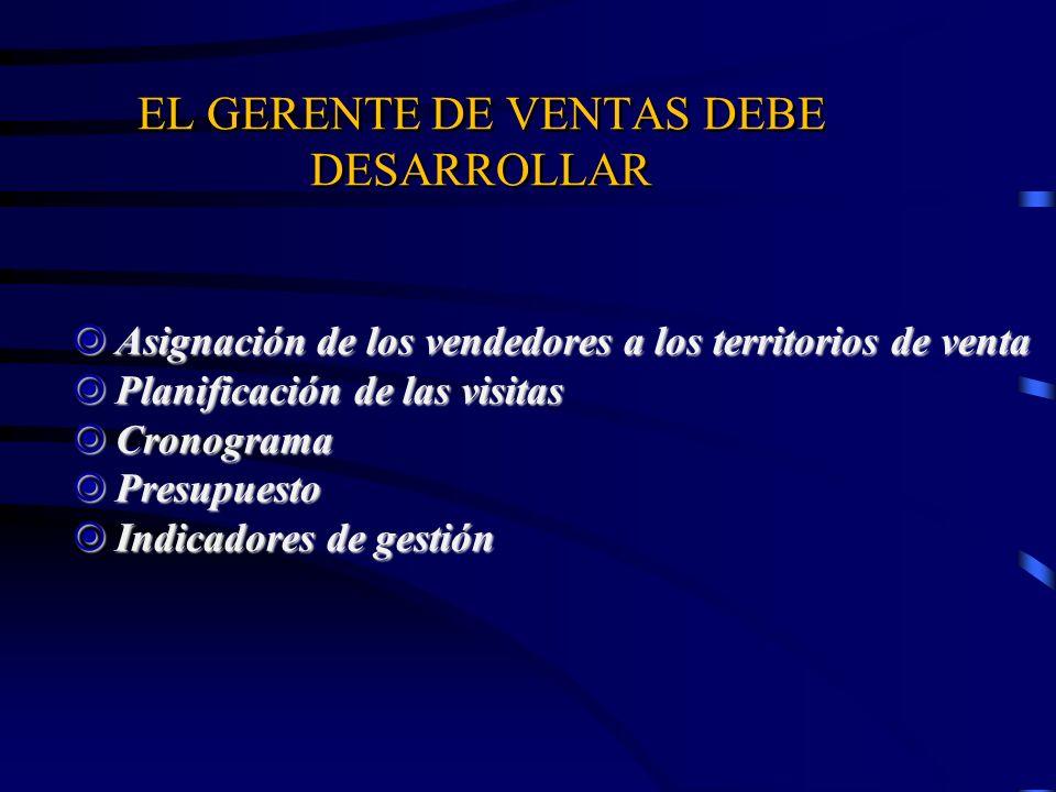 EL GERENTE DE VENTAS DEBE DESARROLLAR Asignación de los vendedores a los territorios de venta Asignación de los vendedores a los territorios de venta