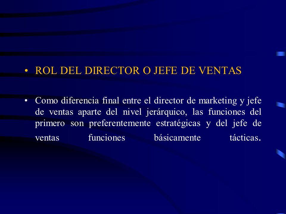 ROL DEL DIRECTOR O JEFE DE VENTAS Como diferencia final entre el director de marketing y jefe de ventas aparte del nivel jerárquico, las funciones del