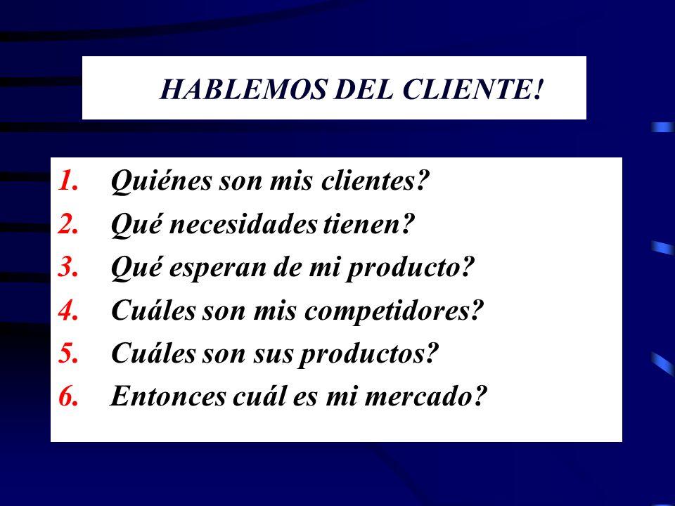 HABLEMOS DEL CLIENTE! 1. Quiénes son mis clientes? 2. Qué necesidades tienen? 3. Qué esperan de mi producto? 4. Cuáles son mis competidores? 5. Cuáles