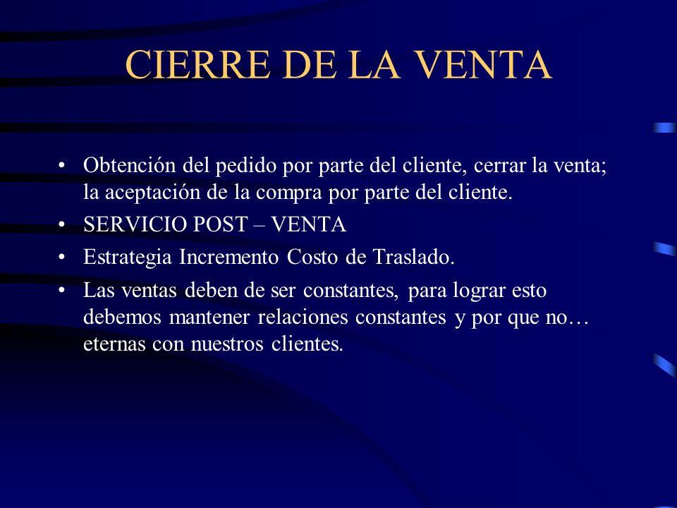 CIERRE DE LA VENTA Obtención del pedido por parte del cliente, cerrar la venta; la aceptación de la compra por parte del cliente. SERVICIO POST – VENT