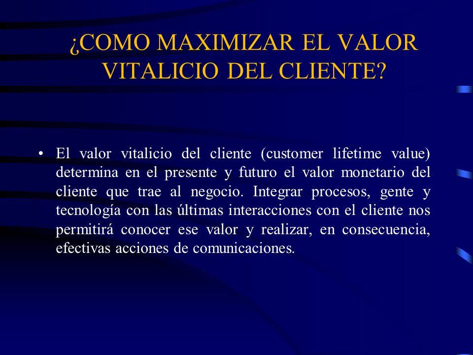 ¿COMO MAXIMIZAR EL VALOR VITALICIO DEL CLIENTE? El valor vitalicio del cliente (customer lifetime value) determina en el presente y futuro el valor mo