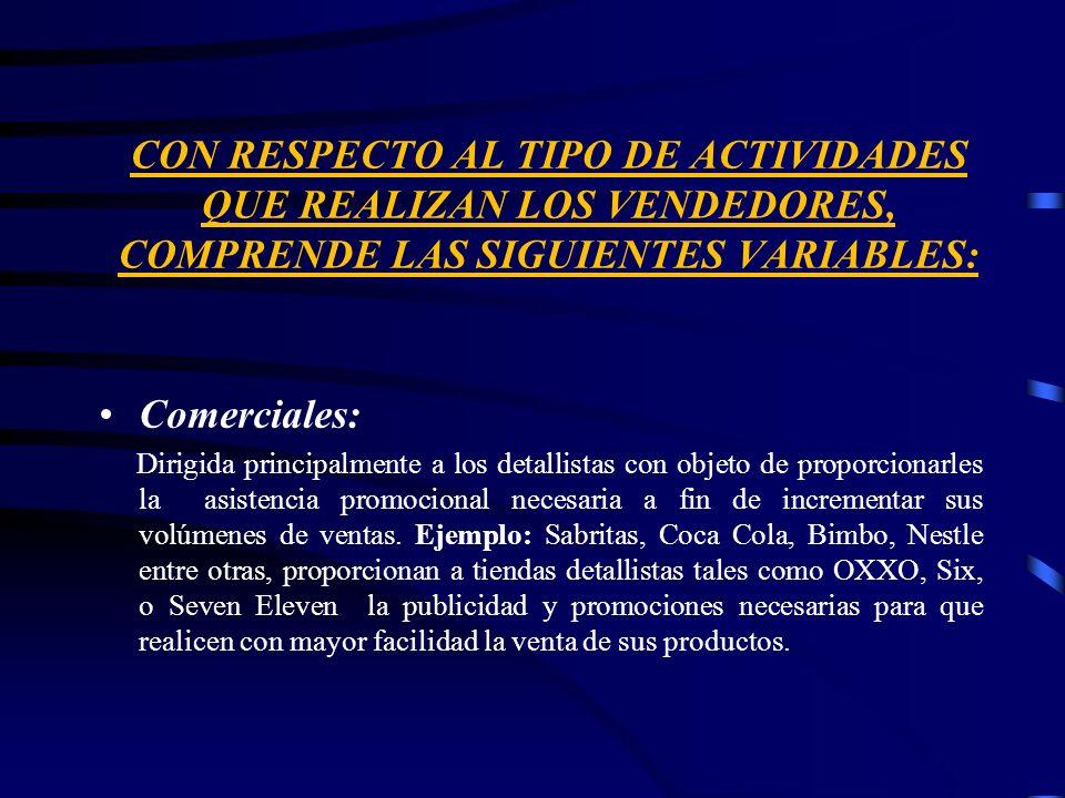 CON RESPECTO AL TIPO DE ACTIVIDADES QUE REALIZAN LOS VENDEDORES, COMPRENDE LAS SIGUIENTES VARIABLES: Comerciales: Dirigida principalmente a los detall