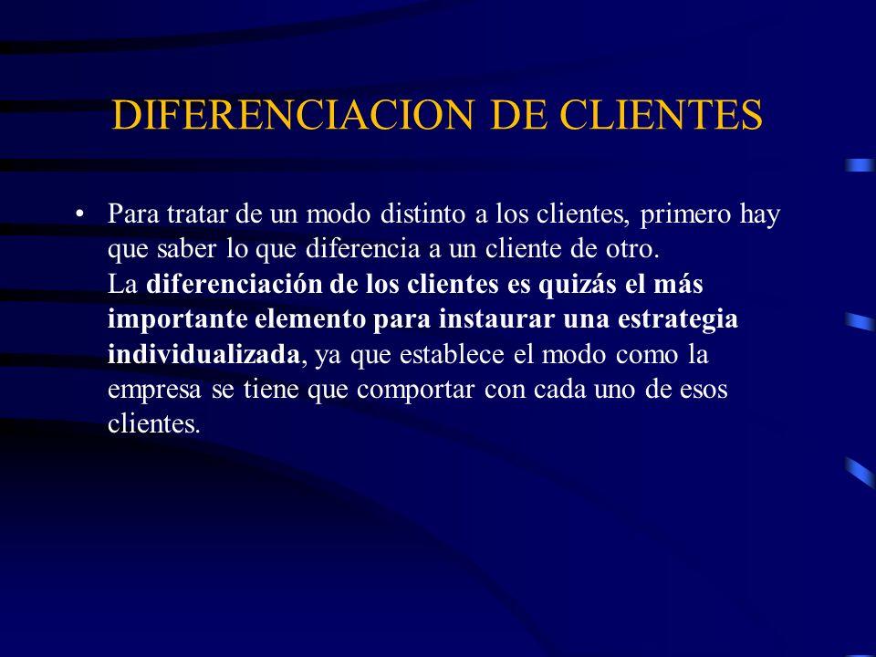 DIFERENCIACION DE CLIENTES Para tratar de un modo distinto a los clientes, primero hay que saber lo que diferencia a un cliente de otro. La diferencia