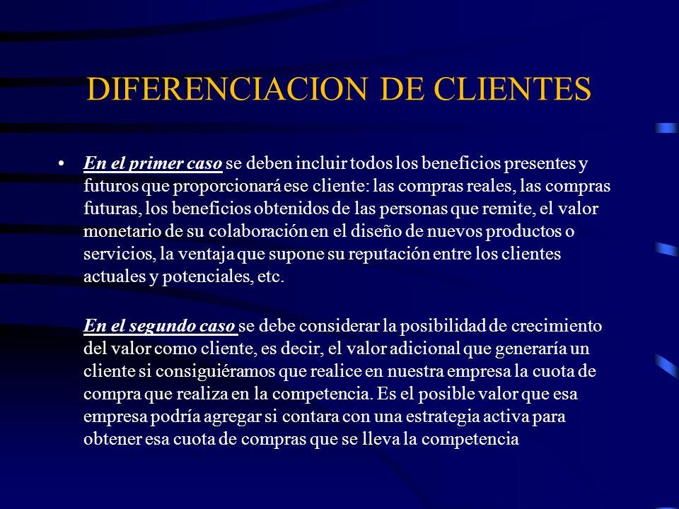 DIFERENCIACION DE CLIENTES En el primer caso se deben incluir todos los beneficios presentes y futuros que proporcionará ese cliente: las compras real