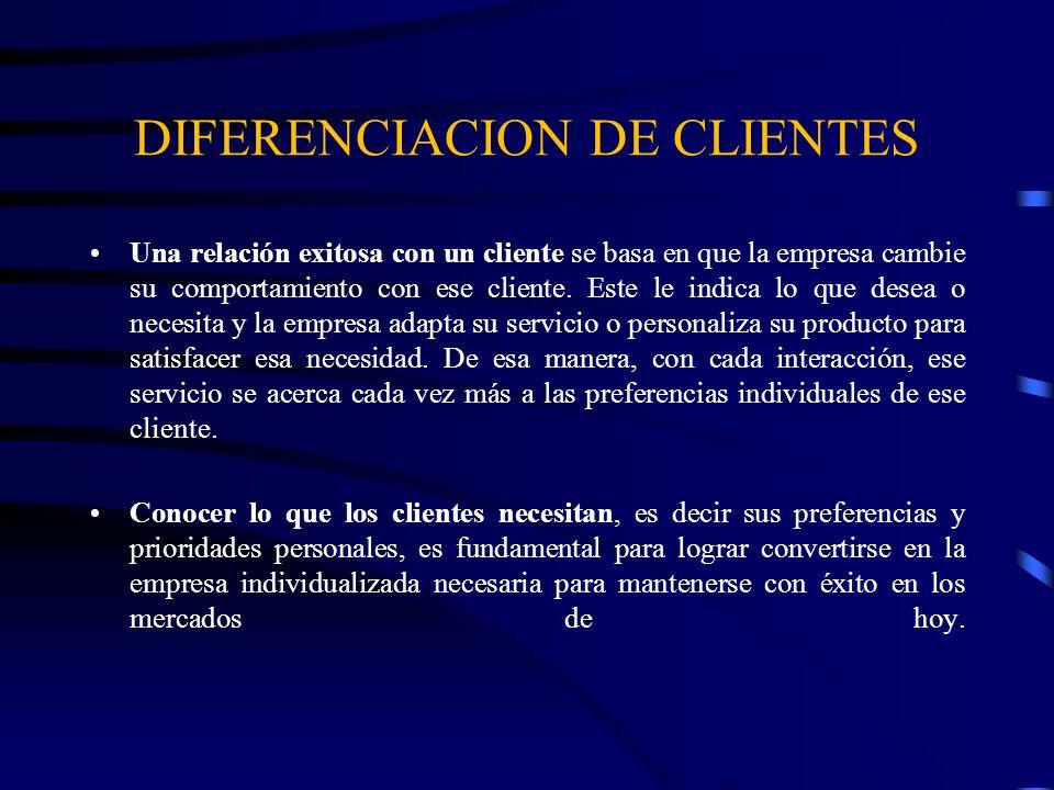 DIFERENCIACION DE CLIENTES Una relación exitosa con un cliente se basa en que la empresa cambie su comportamiento con ese cliente. Este le indica lo q