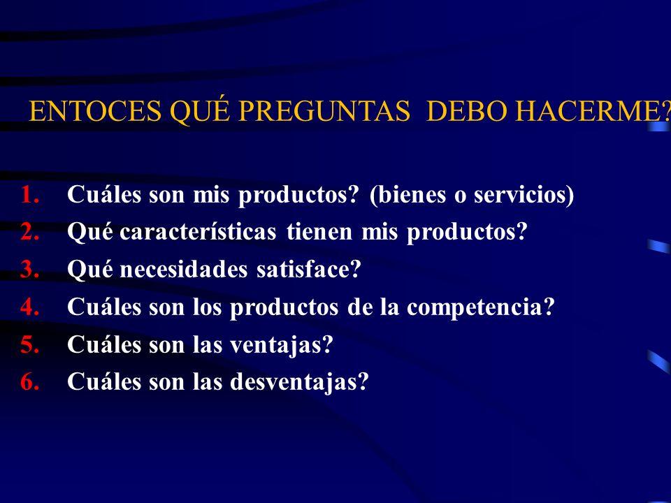 ENTOCES QUÉ PREGUNTAS DEBO HACERME? 1. Cuáles son mis productos? (bienes o servicios) 2. Qué características tienen mis productos? 3. Qué necesidades