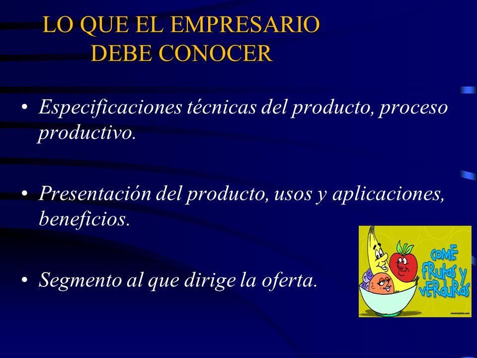 LO QUE EL EMPRESARIO DEBE CONOCER Especificaciones técnicas del producto, proceso productivo. Presentación del producto, usos y aplicaciones, benefici
