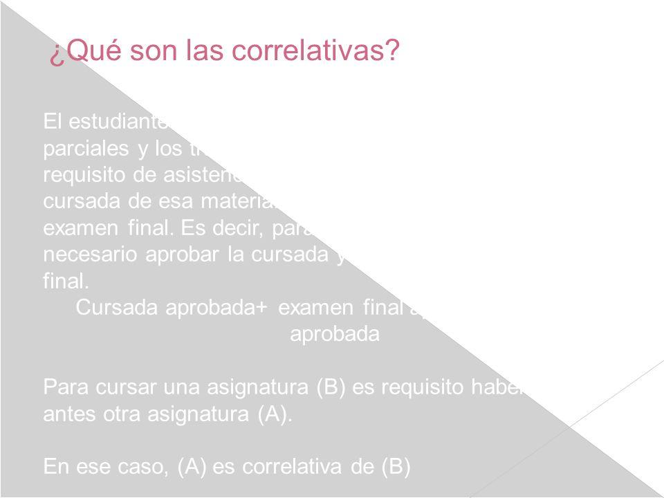 ¿Qué son las correlativas? El estudiante cursa una materia, aprueba los exámenes parciales y los trabajos prácticos si los hay, y cumple con el requis