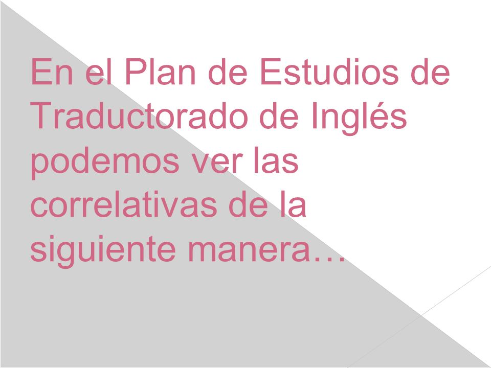 En el Plan de Estudios de Traductorado de Inglés podemos ver las correlativas de la siguiente manera…