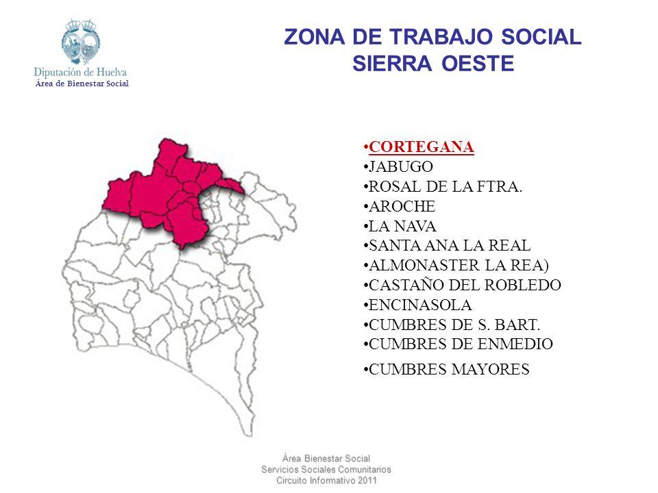 Área de Bienestar Social Área Bienestar Social Servicios Sociales Comunitarios Circuito Informativo 2011 ZONA DE TRABAJO SOCIAL SIERRA OESTE CORTEGANA