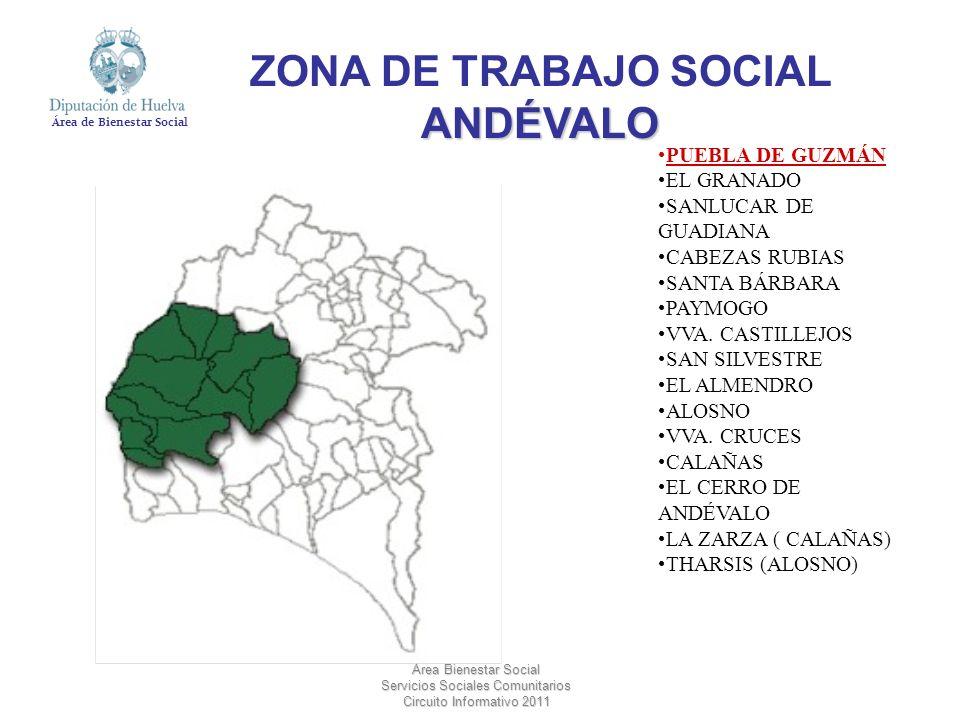 Área de Bienestar Social Área Bienestar Social Servicios Sociales Comunitarios Circuito Informativo 2011 PUEBLA DE GUZMÁN EL GRANADO SANLUCAR DE GUADI