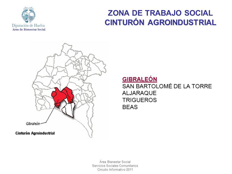 Área de Bienestar Social Área Bienestar Social Servicios Sociales Comunitarios Circuito Informativo 2011 CINTURÓN AGROINDUSTRIAL ZONA DE TRABAJO SOCIA