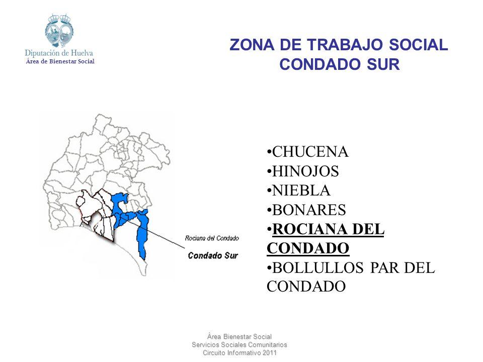Área de Bienestar Social Área Bienestar Social Servicios Sociales Comunitarios Circuito Informativo 2011 CHUCENA HINOJOS NIEBLA BONARES ROCIANA DEL CO