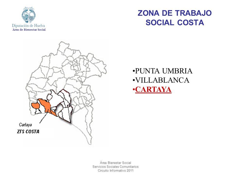 Área de Bienestar Social Área Bienestar Social Servicios Sociales Comunitarios Circuito Informativo 2011 ZONA DE TRABAJO SOCIAL COSTA PUNTA UMBRIA VIL