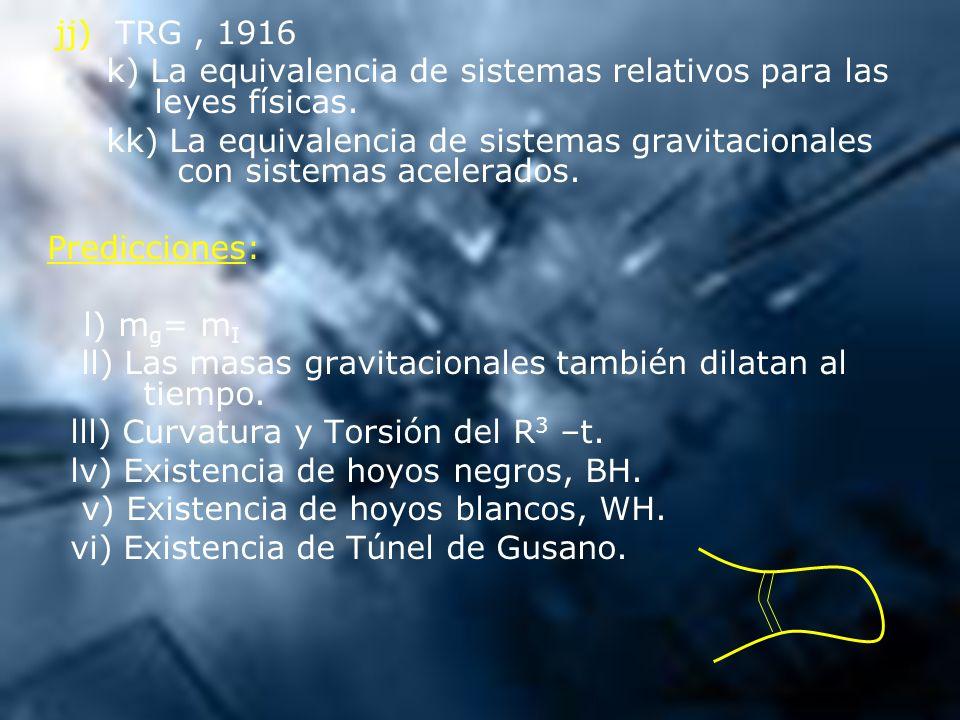 jj) TRG, 1916 k) La equivalencia de sistemas relativos para las leyes físicas. kk) La equivalencia de sistemas gravitacionales con sistemas acelerados