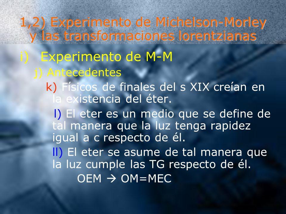 1,2) Experimento de Michelson-Morley y las transformaciones lorentzianas i)Experimento de M-M j) Antecedentes k) Físicos de finales del s XIX creían e