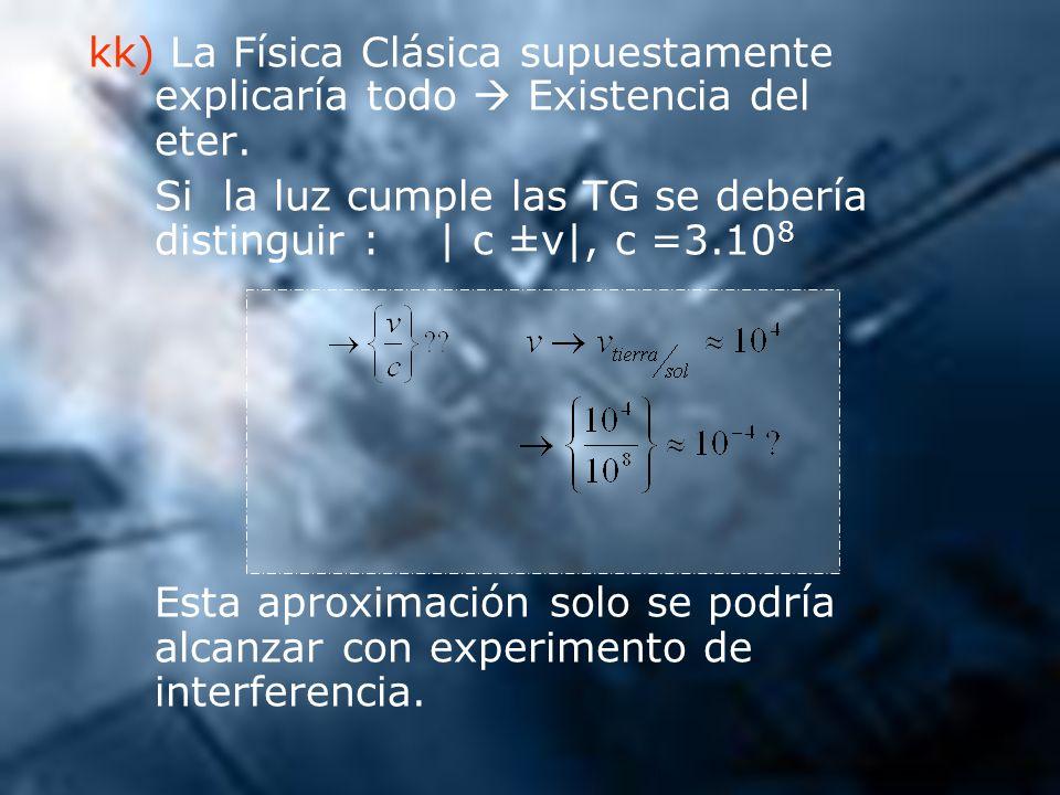 kk) La Física Clásica supuestamente explicaría todo Existencia del eter. Si la luz cumple las TG se debería distinguir : | c ±v|, c =3.10 8 Esta aprox