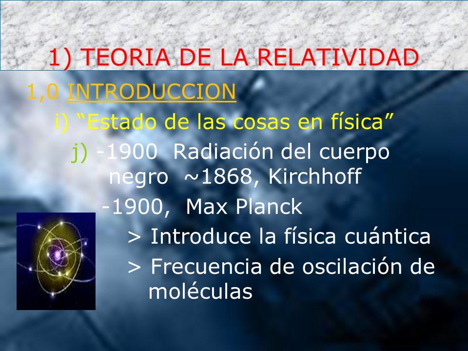1) TEORIA DE LA RELATIVIDAD 1,0 INTRODUCCION i) Estado de las cosas en física j) -1900 Radiación del cuerpo negro ~1868, Kirchhoff -1900, Max Planck >