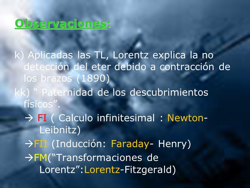 Observaciones: k) Aplicadas las TL, Lorentz explica la no detección del eter debido a contracción de los brazos (1890) kk) Paternidad de los descubrim