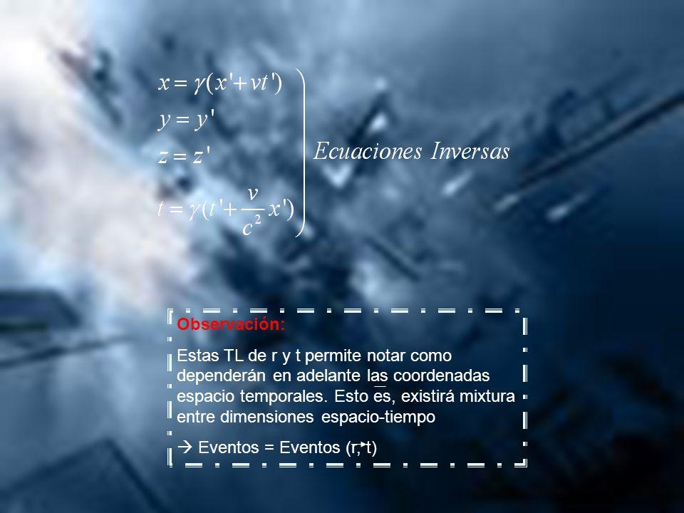 Observación: Estas TL de r y t permite notar como dependerán en adelante las coordenadas espacio temporales. Esto es, existirá mixtura entre dimension
