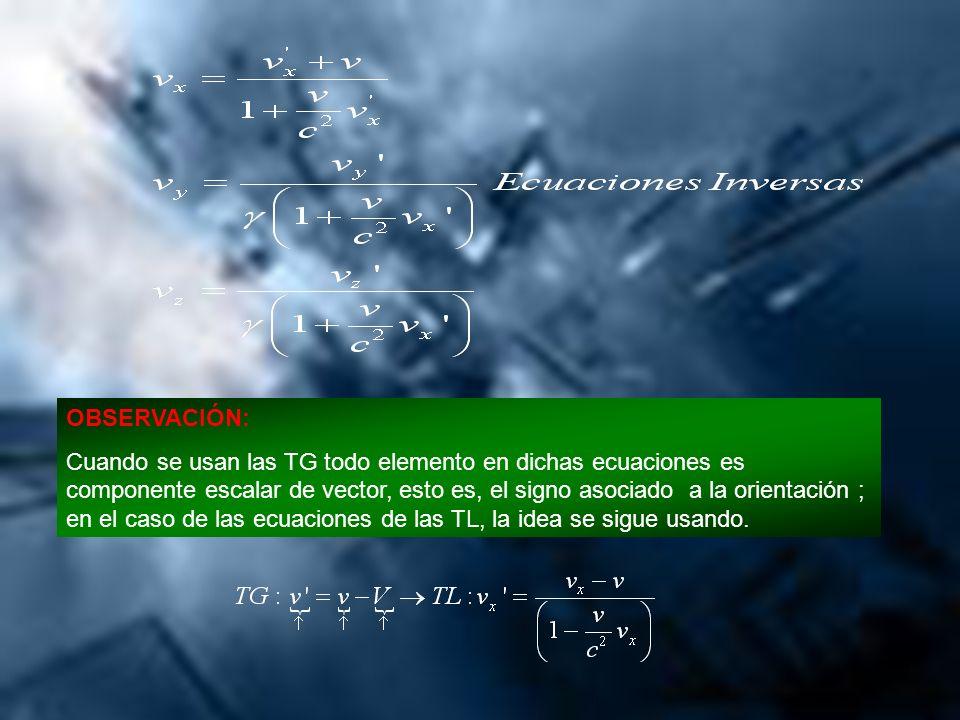 OBSERVACIÓN: Cuando se usan las TG todo elemento en dichas ecuaciones es componente escalar de vector, esto es, el signo asociado a la orientación ; e