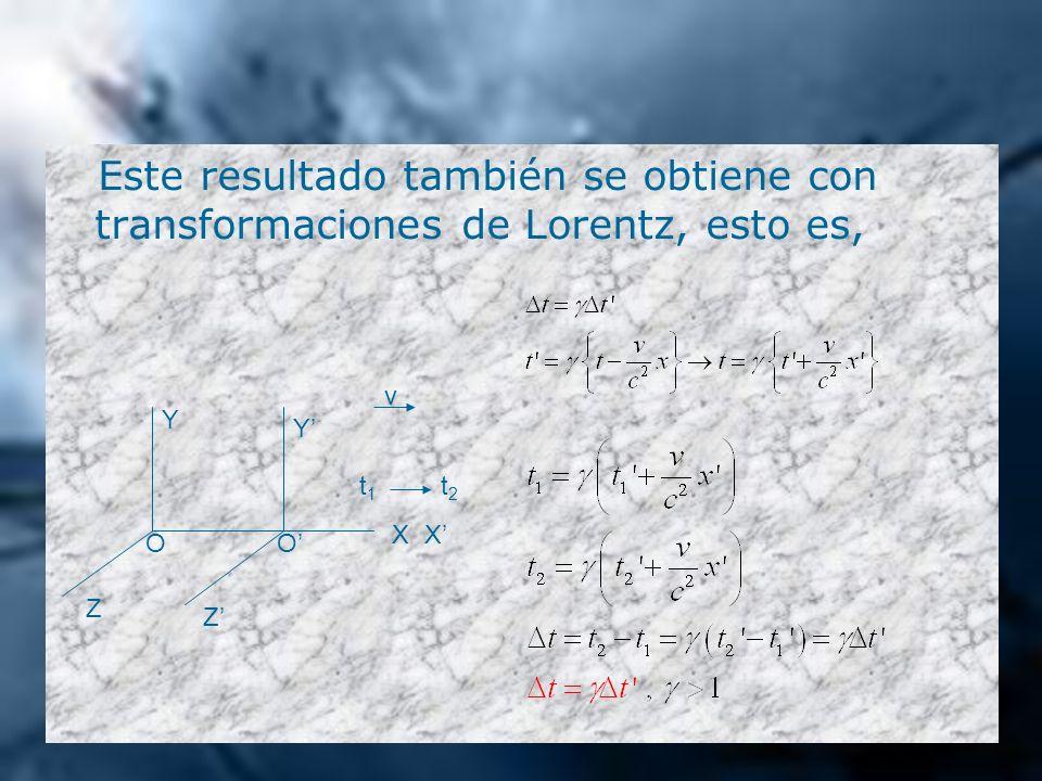 Este resultado también se obtiene con transformaciones de Lorentz, esto es, Z Z Y Y XX OO v t1t1 t2t2