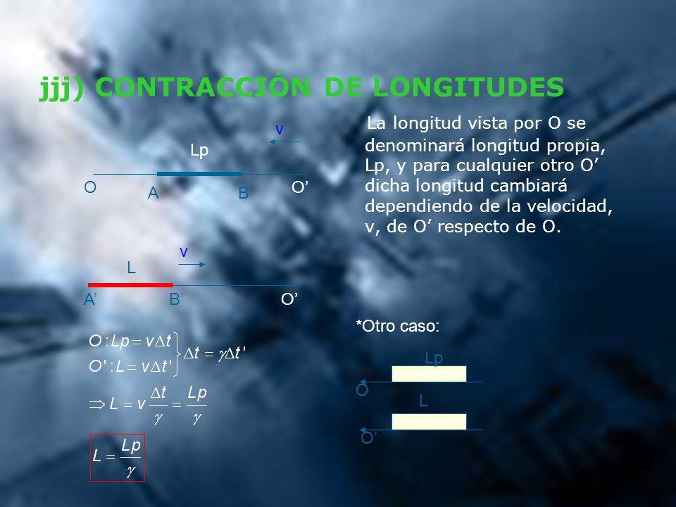jjj) CONTRACCIÓN DE LONGITUDES La longitud vista por O se denominará longitud propia, Lp, y para cualquier otro O dicha longitud cambiará dependiendo